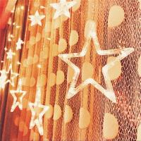 led星星彩灯闪灯串灯满天星五角星灯窗帘灯婚庆圣诞节挂灯装饰灯