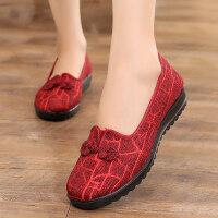 北京老布鞋女新款妈妈鞋单鞋平底中年女士老年老人鞋春秋女鞋软