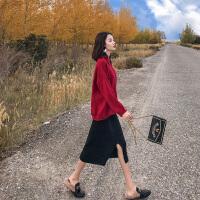 卡贝琳女御姐洋气时尚红色针织套装裙2019新款秋装女神范毛衣裙子两件套装套裙女