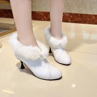 秋冬靴子加绒短靴女皮毛一体马丁靴粗跟防水台圆头保暖棉靴高跟鞋