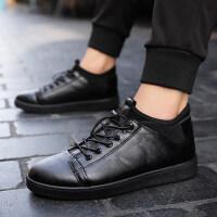 休闲鞋黑色皮面男鞋懒人套脚平底防滑板鞋2018秋冬季新款皮鞋男士
