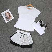 健身房运动套装女夏天速干网红跑步衣女瑜伽服透气显瘦韩版三件套