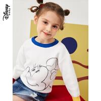 迪士尼童装2020春季新款女童卡通针织衫宝宝女孩撞色套头毛衣上衣