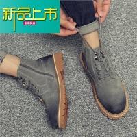 新品上市马丁靴男中帮加绒工装靴英伦风复古男靴子韩版潮流短靴冬季高帮鞋