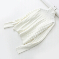 加厚坑条宽松毛衣 女装秋冬时尚慵懒风套头高领针织衫上衣 白色 003# 均码