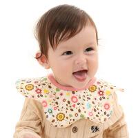 婴儿围嘴纱布圆形宝宝口水巾防水可旋转花瓣围兜防吐奶