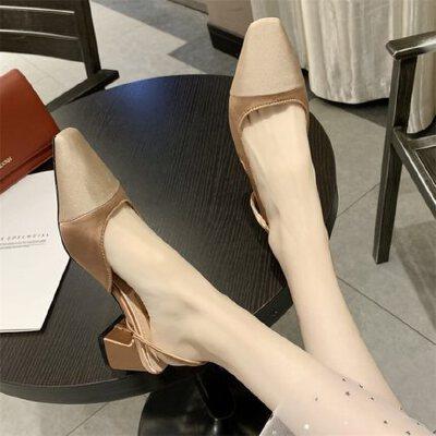 女士凉鞋尖头浅口中跟时尚粗跟仙女风百搭配裙子的鞋