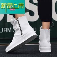 新品上市春季男高帮皮鞋厚底拉链短靴英伦皮靴休闲男靴子韩版中高筒靴