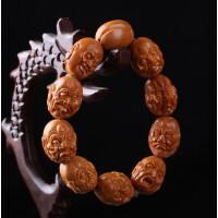 名家精雕高油性橄榄核双面十八罗汉佛珠手串 雕刻橄榄胡工艺品
