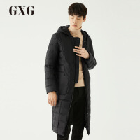 【GXG过年不打烊】GXG男装 冬季男士时尚韩版潮流修身连帽黑色长款羽绒服男