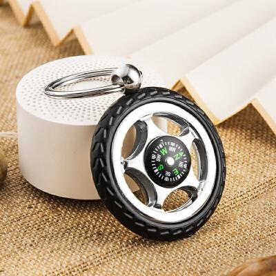 指南针轮胎钥匙扣创意汽车钥匙链挂件钥匙圈环锁匙扣男士玩具 注意:指南针的装饰性大于实际使用价值