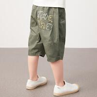 【1件秒杀价:120】马拉丁童装男童裤子2020夏装新款印花撞色安全扣腰带棉布中裤