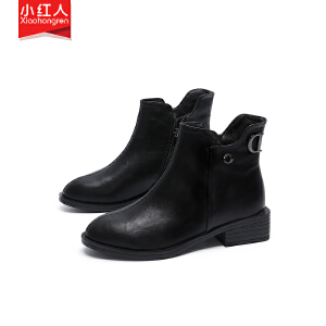小红人【年终狂欢】2018新款PU加绒短靴女鞋子中跟粗跟秋冬英伦拉链短筒靴百搭女靴子W6125