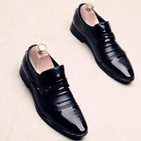 皮鞋男无鞋带英伦尖头韩版青年春季新款潮鞋套脚商务正装上班鞋男 A8603
