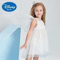 迪士尼女童连衣裙儿童网红公主裙纱纱裙披风白色网纱女孩礼服婚纱