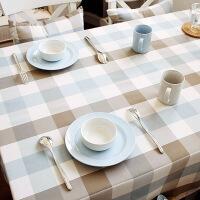 防水桌布布艺台布格子家用简约棉麻清新正方形小欧式餐桌布长方形 F01-大格(主图花型) 140*240cm