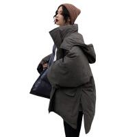 新年礼物2019新款冬季女装韩版宽松大口袋工装棉衣中长款加厚棉袄外套 均码