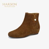 哈森2019冬季新款绒面平底舒适短靴女 通勤内增高时装靴HA97120