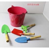 耙子玩具 铁质沙滩铲子耙子锨大号铁桶儿童沙滩玩具园艺三件套工具套装