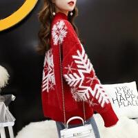 大红色很仙的毛衣女半高领圣诞套头宽松秋冬新款网红慵懒超火打底衫女毛衣女 圣诞红 现货 均码品质