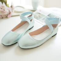 春秋少女大童皮鞋初高中学生复古交叉绑带方头芭蕾舞单鞋