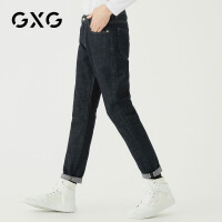 GXG男装  秋季男士时尚青年帅气韩版气质潮流蓝色水洗牛仔裤男