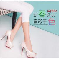 王菲儿新款单鞋超高跟性感细跟浅口鱼嘴鞋OL高跟鞋909