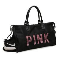 短途旅行包女手提行李包男韩版大容量PINK旅行袋轻便鞋位健身包潮