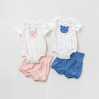 [2件3折价:80.1]davebella戴维贝拉夏季男女婴幼儿宝宝连体衣两件套DBW10606