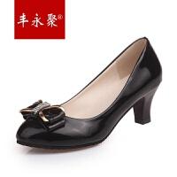 丰永聚新款甜美蝴蝶结浅口大东圆头黑色高跟鞋中跟粗跟工作鞋低跟女单鞋
