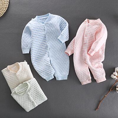 秋冬款婴儿夹棉连体衣新生儿三层加厚保暖爬服男女童宝宝哈衣