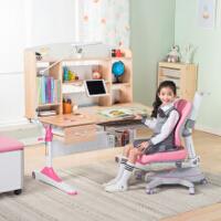 心家宜 实木儿童学习桌椅套装 学习桌可升降儿童书桌学生书桌写字桌课桌椅 公主粉