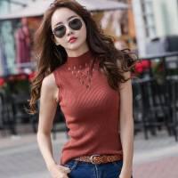半高领无袖针织背心女春季韩版新款镂空紧身内搭小吊带衣服