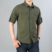 纯棉衬衫男士长袖韩版潮流帅气衬衣服百搭工装牛仔寸衫夏装外套潮19002长袖衬衫