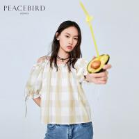 太平鸟黄色格纹吊带一字肩上衣女2019春夏新款宽松仙的洋气衬衫女