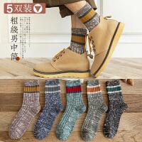 袜子男中筒袜秋冬季男士潮棉袜吸汗长筒长袜复古加厚保暖日系