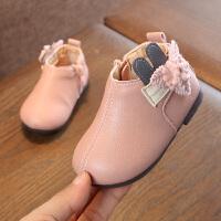 女儿童短靴子冬季新款公主棉鞋 加绒软底婴幼儿学步皮靴子0-2