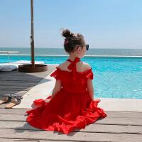 女童连衣裙夏季红色吊带裙海边沙滩露肩雪纺裙