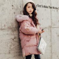 儿童棉服 女童中长款加厚棉衣2019冬季新款女孩中大童韩版洋气棉服金丝绒外套