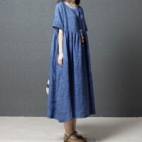 大码女装韩版复古文艺胖妹妹新款夏季宽松显瘦洋气短袖连衣裙长裙