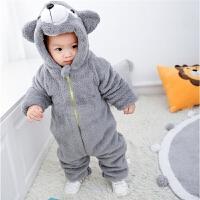 0-1岁婴儿连体衣秋冬外出穿加绒夹棉加厚保暖双层拉链动物爬爬服
