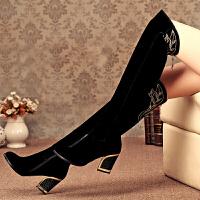 老北京布鞋女款粗跟长过膝靴子高筒靴高跟侧拉链骑士靴女绣花 黑色棉靴
