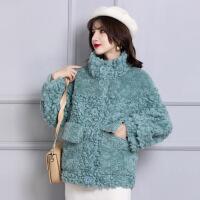 皮毛一体颗粒羊剪绒外套女皮草大衣短款夹克卡拉卷全羊毛立领冬装