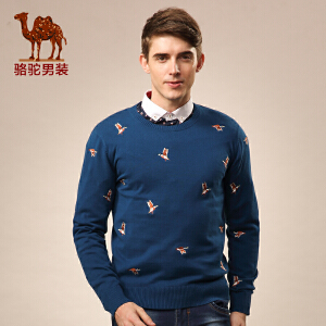 Camel/骆驼男装毛衣 秋冬装新款圆领毛衣 长袖绣标套头修身毛线衣