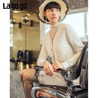 【5折价352】Lagogo/拉谷谷2019年春季新款V领长袖针织衫两件套女IAMMA32H31