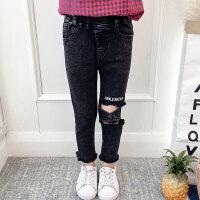 儿童牛仔裤 女童裤子2020秋季韩版女孩中大童字母印花破洞牛仔裤洋气潮小脚裤