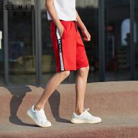 森马2020夏季新款休闲中裤男复古风撞色印花织带拼接松紧腰运动裤