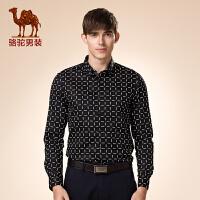 骆驼男装 秋季新款微弹尖领格子纯棉长袖衬衫 休闲衬衣 男士