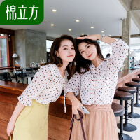 雪纺短袖上衣女小清新2019新款夏季棉立方洋气心机衬衫设计感超仙