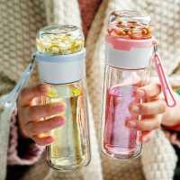 茶水分离玻璃杯女清新可爱ins原宿花茶水杯双层过滤便携泡茶杯子